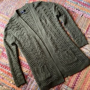 Olive Green Chunky Knit Cardigan